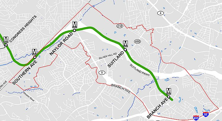 Southern Green Line Station Area Plan Project Boundary Map