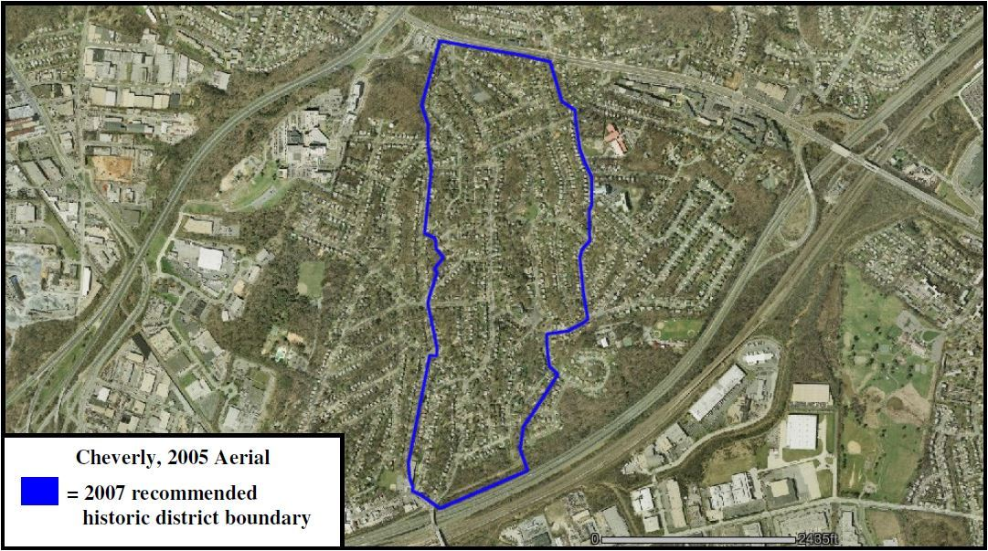 Map of Cheverly Proposed NR Historic District