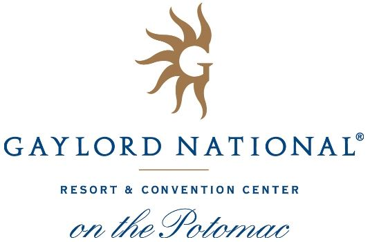 Logo for Gaylord National Resort written in blue with a gold logo of a G with sun waves on top