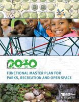 the master plan book for formula 2040 with images of nature, play structures, and smiling kids