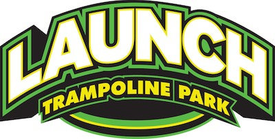 Logo for Launch Trampoline Park written in bold white letters with green, yellow, and black borders