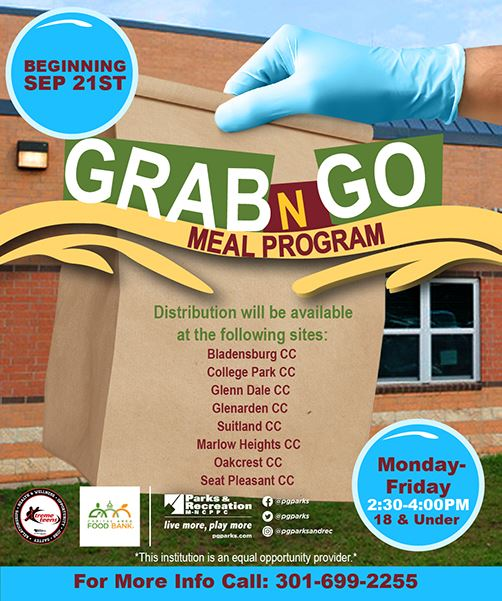 Flyer for grab and go meal program with hand holding paper bag in background