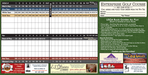 Sample Enterprise Golf Score Card - links to Enterprise Golf Course Score Card (PDF)
