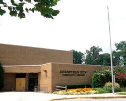 The exterior of the Deerfield Community Center building