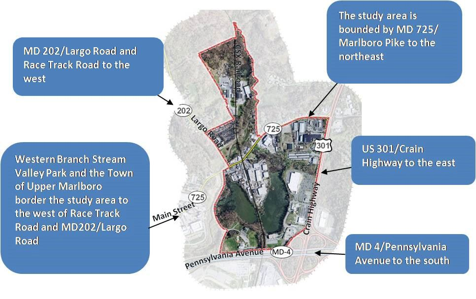 Graphic Detailing the Greater Upper Marlboro Project Boundary