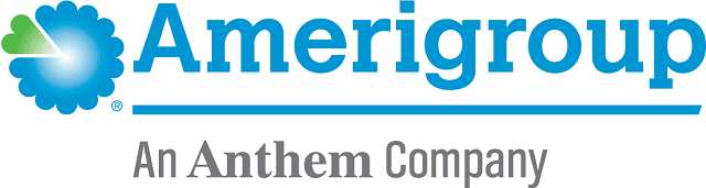 Logo for 2018 Amerigroup Logo written in blue letters with a blue flower and green heart on left
